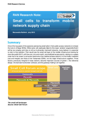 RAN Research Note: Small cells to transform mobile network supply chain