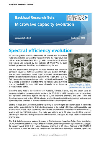 Backhaul Research Note: Backhaul capacity evolution