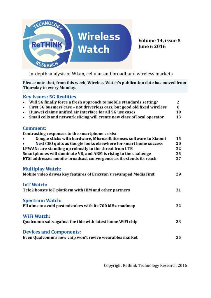 Wireless Watch 641 June 6: 5G Realities