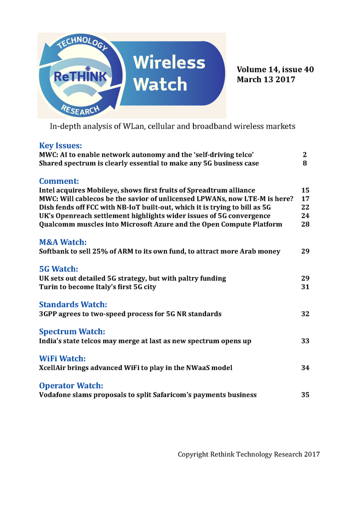 Wireless Watch 677 March 13: Telcos turn to AI