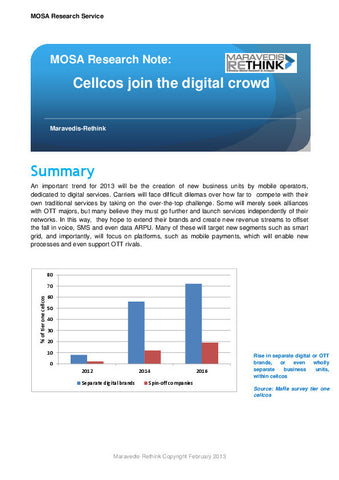 MOSA Research Note: Cellcos join the digital crowd