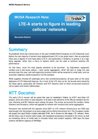 MOSA Research Note: LTE-A starts to figure in leading cellcos' networks
