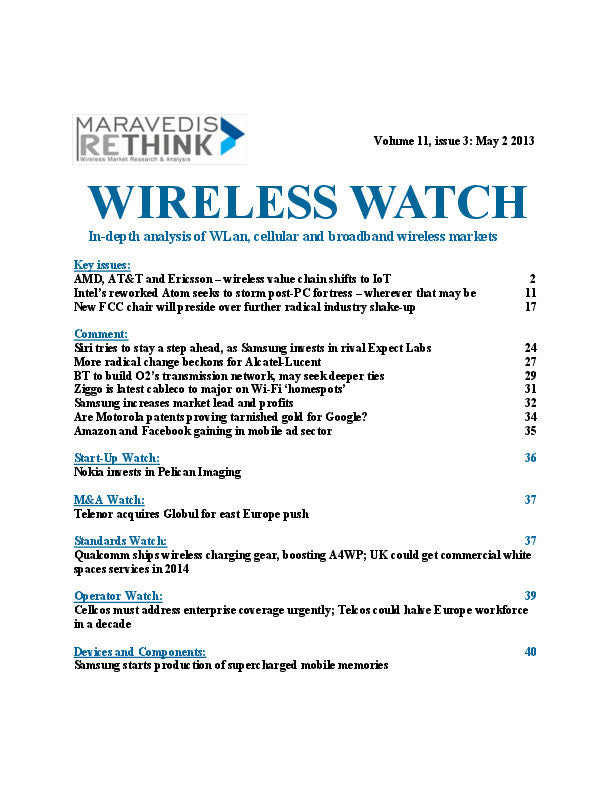 Wireless Watch 494: AMD, AT&T and Ericsson – wireless value chain shifts to IoT