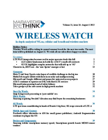 Wireless Watch 507: LTE/Wi-Fi integration becomes real in major operator deals this fall
