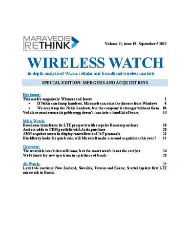 Wireless Watch 510: SPECIAL EDITION: MERGERS AND ACQUISITIONS