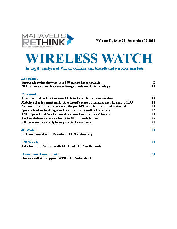 Wireless Watch 512: Supercells point the way to a $50 macro layer cell site and NFC bubble bursts as even Google cools on the technology