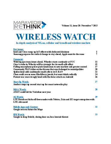 Wireless Watch 519: Intel and Cisco ramp up IoT efforts with dedicated divisions