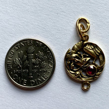 Load image into Gallery viewer, French Art Nouveau 18K Yellow Gold Red Ruby Griffon Charm Pendant