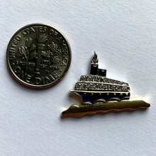 Load image into Gallery viewer, Art Deco Platinum Yellow Gold Enamel Diamond Ocean Liner Charm Pendant
