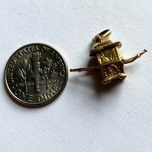 Yellow Gold Chinese Sedan Chair Charm Pendant