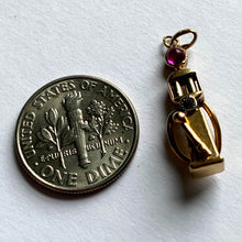 Load image into Gallery viewer, French Yellow Gold Red Ruby Gas Pump Charm Pendant