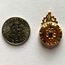 Load image into Gallery viewer, French 18K Yellow Gold Red Paste Medal Charm Pendant