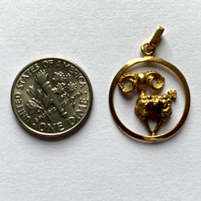 Load image into Gallery viewer, French 18K Yellow Gold Ares Zodiac Charm Pendant