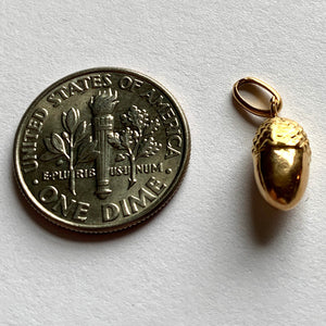 French 18K Yellow Gold Acorn Charm Pendant