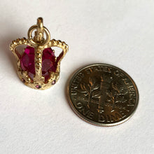 Load image into Gallery viewer, 9K Rose Gold Pink Paste Crown Charm Pendant