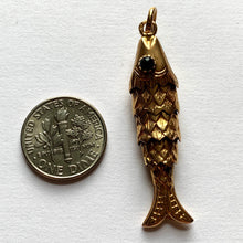 Load image into Gallery viewer, 18K Yellow Gold Green Paste Large Articulated Fish Charm Pendant
