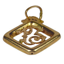 Load image into Gallery viewer, French Rose Yellow Gold Lucky 13 Charm Pendant