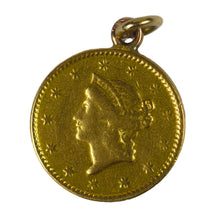 Load image into Gallery viewer, Yellow Gold 1849 One Dollar Coin Charm Pendant