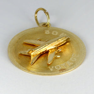 14K Yellow Gold Bon Voyage Airplane Charm Pendant