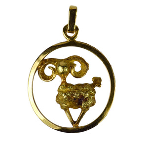 French 18K Yellow Gold Ares Zodiac Charm Pendant