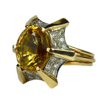 Load image into Gallery viewer, Citrine Diamond Gold Cocktail Ring