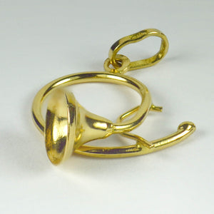 French 18K Yellow Gold French Horn Charm Pendant