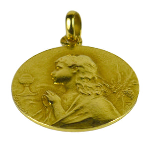 French 18K Yellow Gold Rasumny Wine and Wheat Harvest Charm Pendant