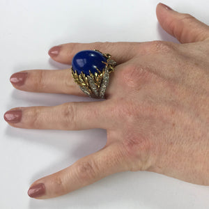 Blue Lapis Lazuli Diamond Platinum Gold Cabochon Cocktail Ring