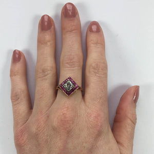 Edwardian 1.20 Carat Diamond Ruby Ring
