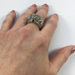 Art Moderne Diamond Platinum Ridge Ring