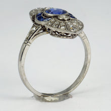 Load image into Gallery viewer, French White Diamond Blue Sapphire Platinum Ring