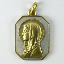Load image into Gallery viewer, French Virgin Mary 18K Yellow Gold Mother of Pearl Charm Pendant