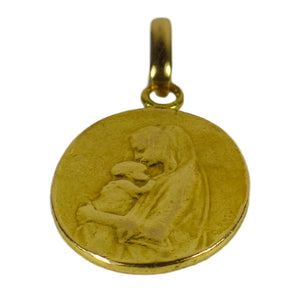 French 22K Yellow Gold Oscar Roty Madonna and Child Charm Pendant