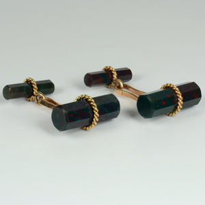 Marchak French Green Red Bloodstone Quartz Gold Cufflinks