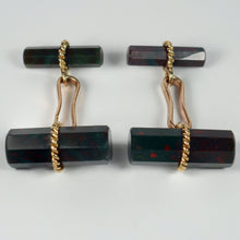 Load image into Gallery viewer, Marchak French Green Red Bloodstone Quartz Gold Cufflinks