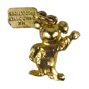 Yellow Gold Walt Disney Mickey Mouse Charm Pendant