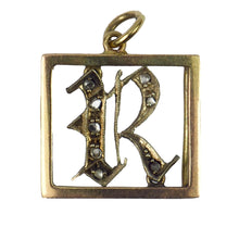 Load image into Gallery viewer, 9K Rose Gold, Silver, Diamond Initial R Charm Pendant