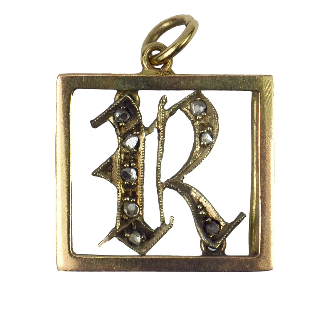 9K Rose Gold, Silver, Diamond Initial R Charm Pendant
