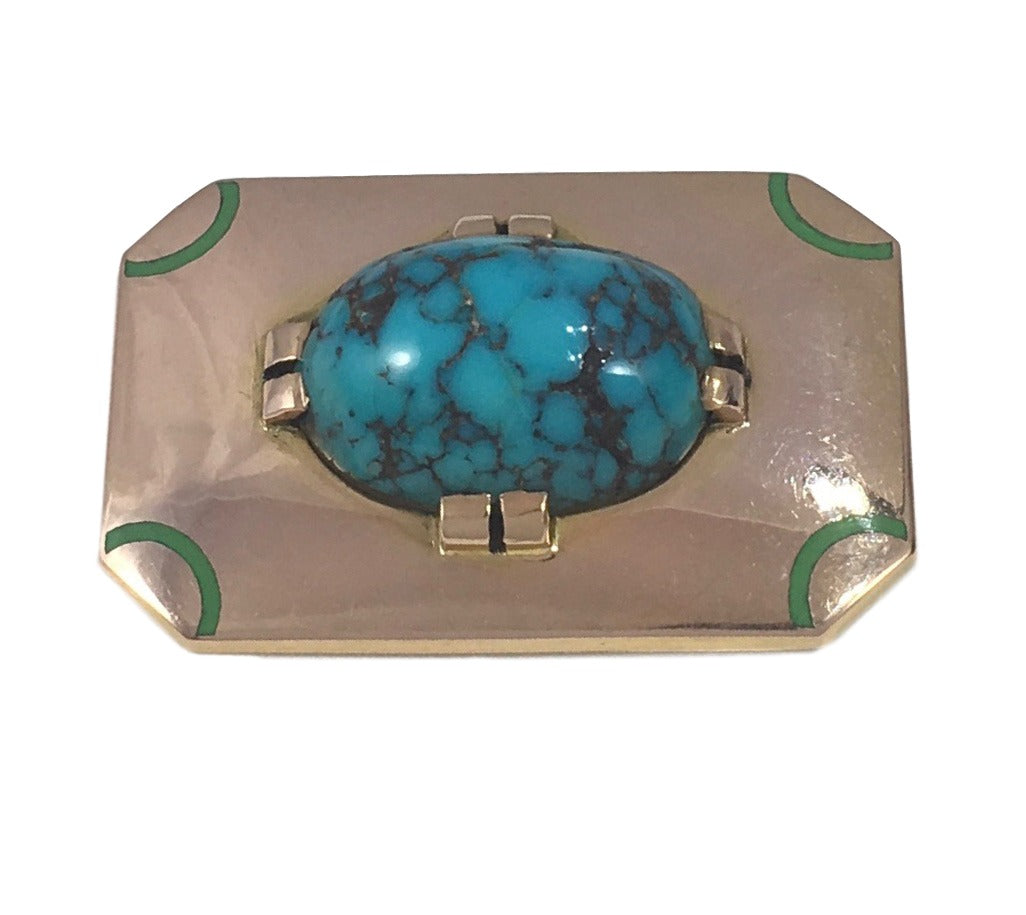 French Art Deco Turquoise Enamel Gold Brooch