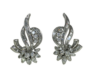 Diamond Platinum Flower Spray Earrings