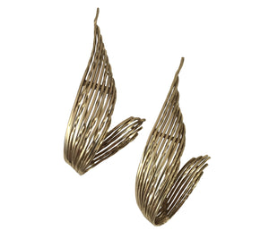 Pierre Sterlé 1950s Pair of Gold Feather Clip Brooches