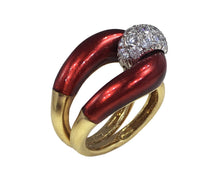 Load image into Gallery viewer, 1960s Vourakis Red Enamel Pave Diamond Gold Buckle Ring