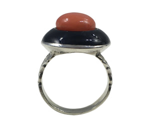 French silver coral lacquer target ring