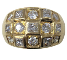 Load image into Gallery viewer, French Princess Cut Diamond Gold Bombe Ring