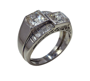 French Art Deco Modernist Diamond Platinum Crossover Ring