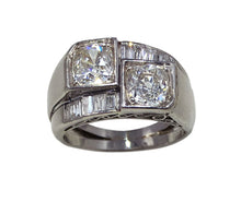 Load image into Gallery viewer, French Art Deco Modernist Diamond Platinum Crossover Ring
