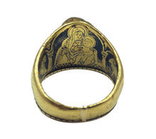 Load image into Gallery viewer, Antique 1912 Christmas Nativity Xmas Blue Sapphire Gold Niello Ring