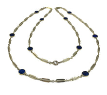 Load image into Gallery viewer, Lapis Lazuli and Gold Chain Necklace c. 1960