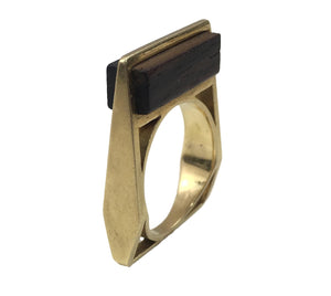 French wood gold square ring