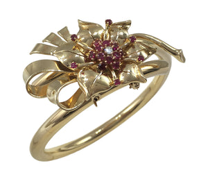 Gold Ruby Diamond Flower Brooch